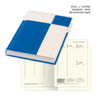 B/5 kombinált napló Extra+ borítóval - középkék - fehér