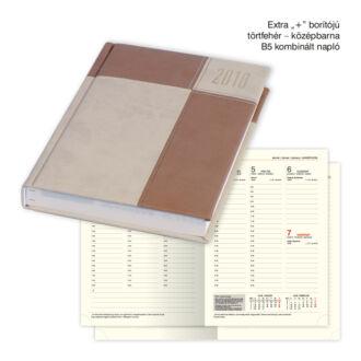 B/5 kombinált napló Extra+ borítóval - törtfehér - középbarna