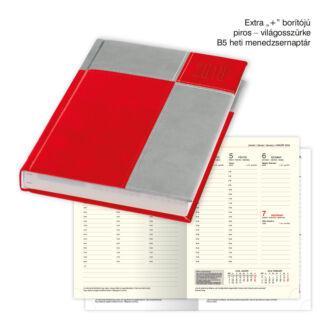 B/5 heti menedzsernaptár Extra+ borítóval - piros - világosszürke
